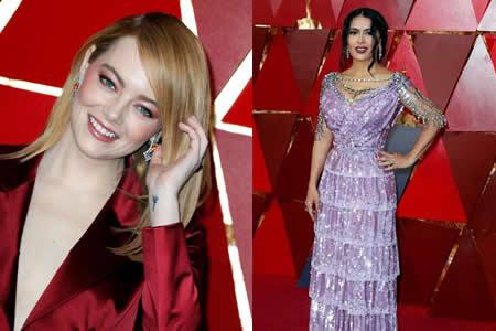 Emma Stone, la mejor vestida, y Salma Hayek, la peor, en los Óscar 2018