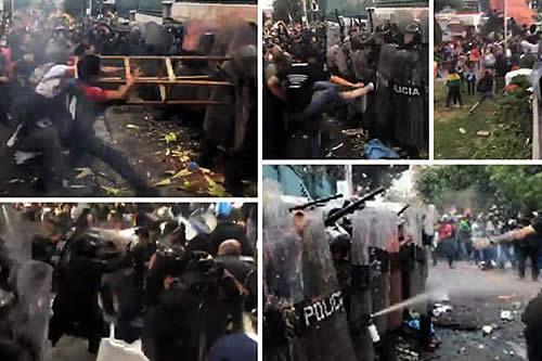 Estalla la violencia en las puertas del TSE, hubo duras agresiones y gases