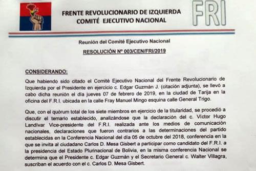 FRI suspende a dirigente por pronunciarse contra Mesa