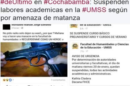 Amenaza vía Facebook paraliza labores académicas en UMSS de Cochabamba