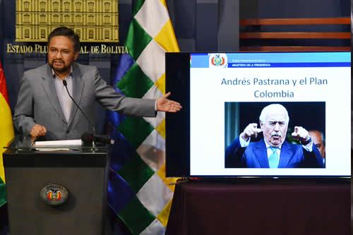 """Gobierno rechaza """"vehementemente"""" dichos de Pastrana sobre lucha antidroga en Bolivia"""