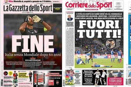 """Buffon y la palabra """"fin"""" llenan las portadas italianas tras fracaso Mundial"""