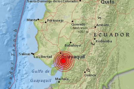 Un sismo de magnitud 6,2 se registra en ciudad ecuatoriana de Guayaquil