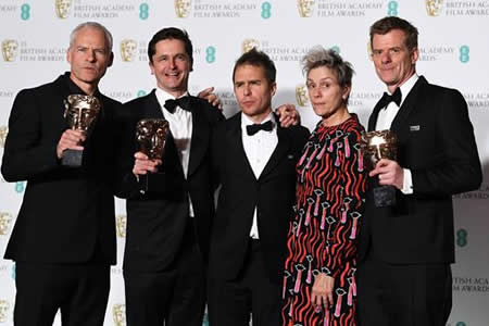 """Three Billboards"" triunfa en unos BAFTA que reconocen a Guillermo del Toro"
