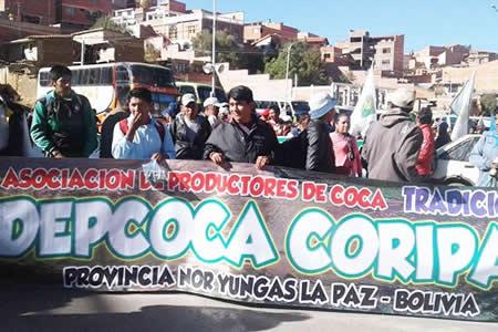 Cocaleros bloquearán camino a los Yungas