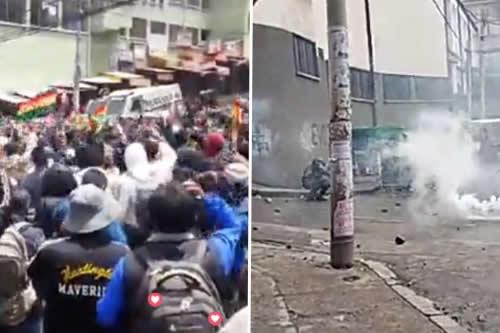 Represión en Adepcoca: Policía usa gases y carro Neptuno contra cocaleros