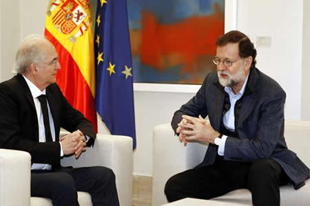 "Rajoy recibe en Madrid a Ledezma, que denuncia la ""narcodictadura venezolana"""