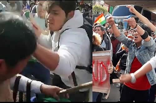 Militante de CC golpea e insulta a una mujer de pollera en un choque de frentes en La Paz