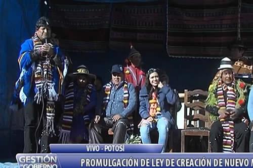 Morales promulga ley que crea el municipio San Pedro de Macha en Potosí