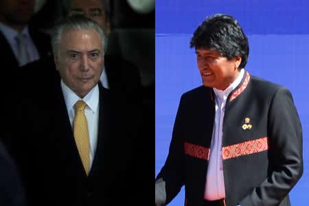 Morales y Temer se reunirán el lunes en Brasil para reforzar cooperación