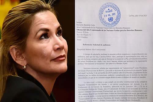 Añez pide audiencia con Alta Comisionada de ONU y le alerta que corre riesgo su vida por su salud deteriorada