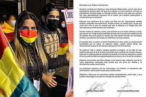 Hijos de Jeanine Añez escriben a los hijos de Arce para pedir por su madre