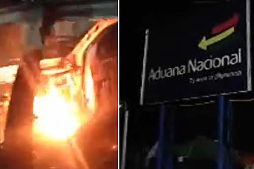 Grupo violento atacó e incendió un puesto aduanero en Villazón