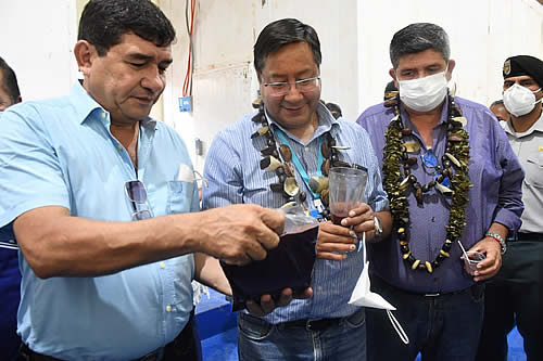 Presidente Arce entrega una planta procesadora de asaí en el municipio de Sena, en Pando