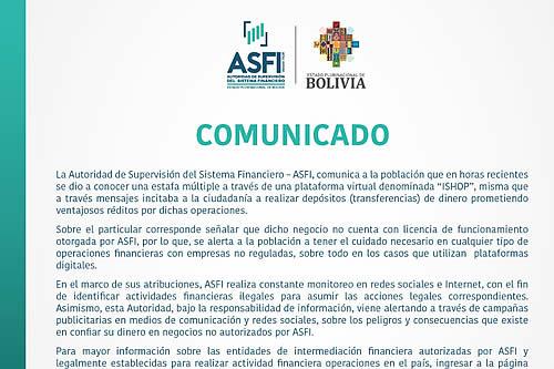 """ASFI alerta que """"ISHOP"""" no cuenta con autorización para captar depósitos"""
