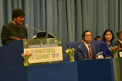Morales presenta en Viena exitoso modelo antidroga de Bolivia