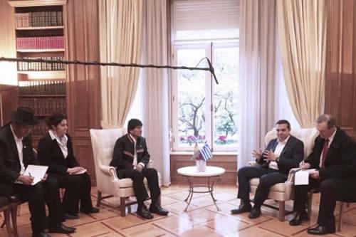 Morales inicia reunión bilateral con el Primer Ministro de Grecia en Atenas