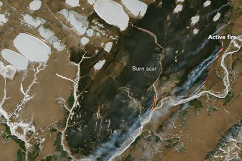 La NASA compara un continente de 'Juego de Tronos' con un incendio forestal rodeado de hielo en el norte de Rusia