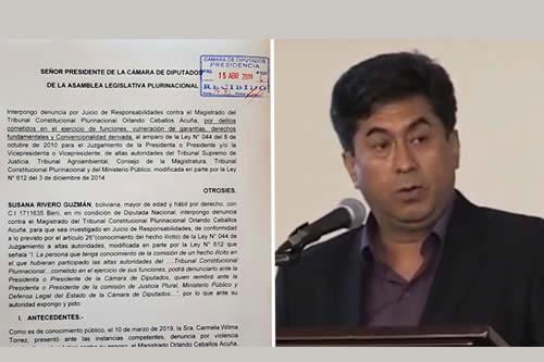 Rivero formalizó denuncia al magistrado Ceballos