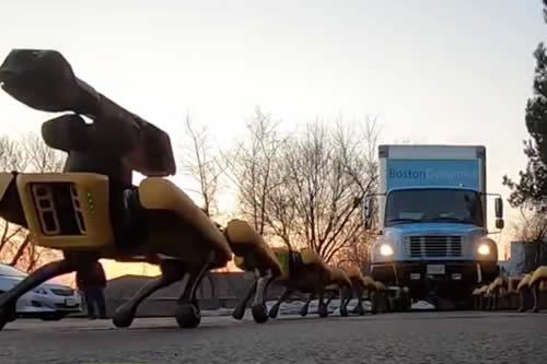 """""""Pesadillas del futuro"""": Perros robot de Boston Dynamics se coordinan para arrastrar un camión"""