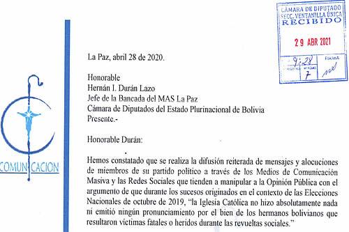 Iglesia envía carta al MAS para recordarle su rol en los sucesos de 2019