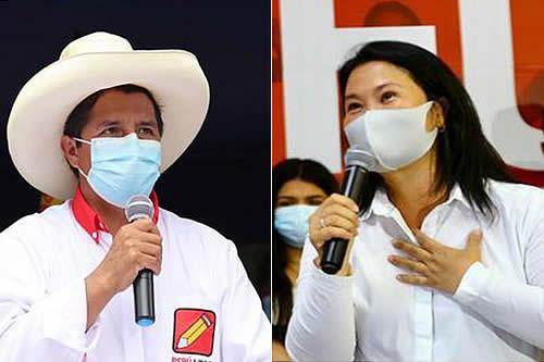 Según conteo rápido de Ipsos al 100%, Castillo obtiene 50,2% y Keiko Fujimori 49,8%