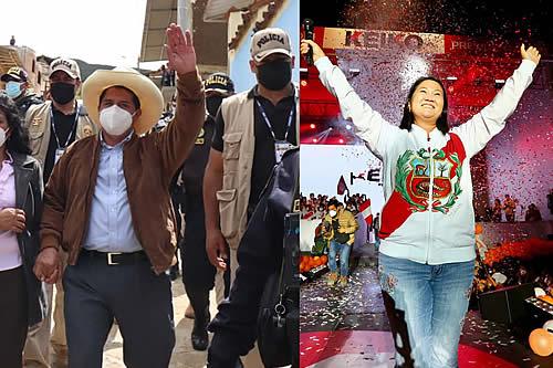 Cómputo al 96,79% en Perú: Pedro Castillo obtiene 50,25% y Keiko Fujimori, 49,74%