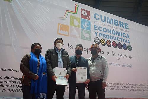 Cumbre para la Reconstrucción Económica y Productiva concluye en Potosí con 125 propuestas