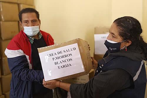 Ministerio de Salud entrega insumos de bioseguridad a la Policía, Fuerzas Armadas y municipios de Tarija