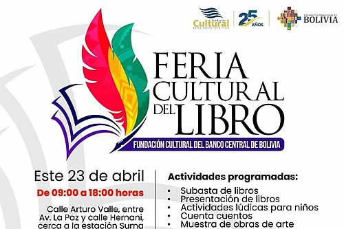 Fundación del BCB realizará feria cultural en conmemoración al Día Internacional del libro