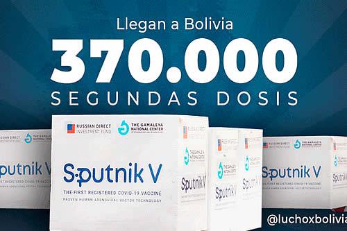 Bolivia recibirá 370.000 unidades de la segunda dosis de la vacuna Sputnik V durante la próxima semana