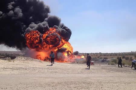 Terrorista suicida vuela por los aires tras ser burlado por un grupo de milicianos en Siria