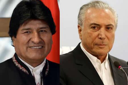 Morales analizará con Temer integración energética en visita a Brasil