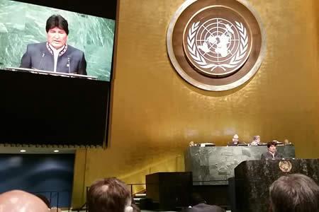 Morales plantea en NNUU organizar la lucha mundial para salvar la vida y el planeta