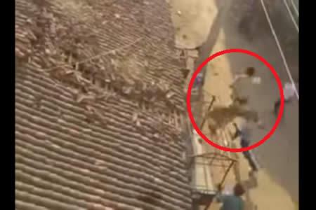 Momento en que un hombre salta desde el techo para evitar ser atacado por un leopardo