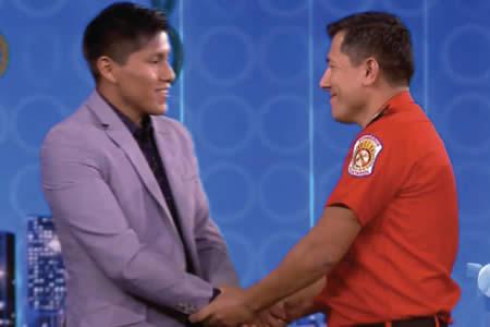 Boliviano Tumiri encuentra a bombero peruano que lo salvó