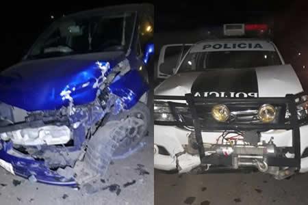 Conductor ebrio chocó contra una patrulla policial