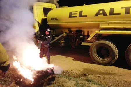 El Alto: Alcaldía intervino 45 fogatas la noche de San Juan