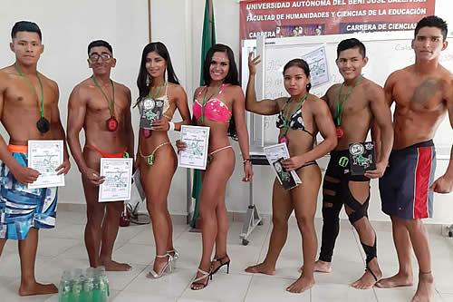 Atletas de Trinidad clasifican a Miss y Mister departamental de fisicoculturismo en Beni