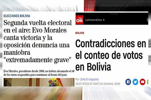 Medios internacionales reflejan la incertidumbre en Bolivia por el conteo del TSE