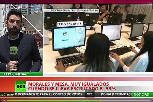 Conteo oficial: con el 53% de las actas computadas, Morales y Mesa permanecen empatados con cerca del 42% de los votos