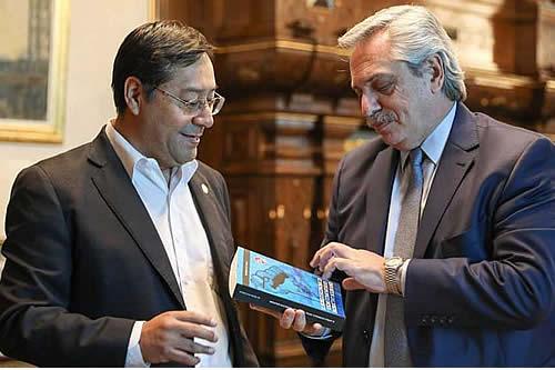 Presidente argentino recibe a Luis Arce en Casa Rosada