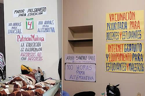 Maestros persisten en huelga de hambre en demanda de más presupuesto para educación