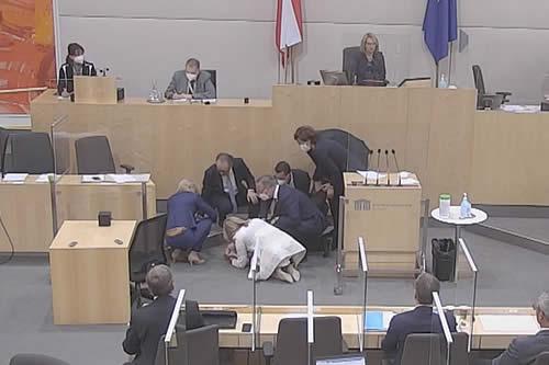 Se desmaya una miembro del Consejo Nacional de Austria durante su discurso al Parlamento