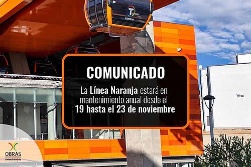 Línea Naranja de Mi Teleférico suspende operaciones del 19 al 23 de noviembre por mantenimiento