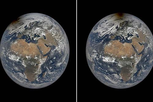 Imágenes satelitales de la NASA muestran el momento en que un eclipse solar hizo que el Polo Norte 'estuviese en llamas'